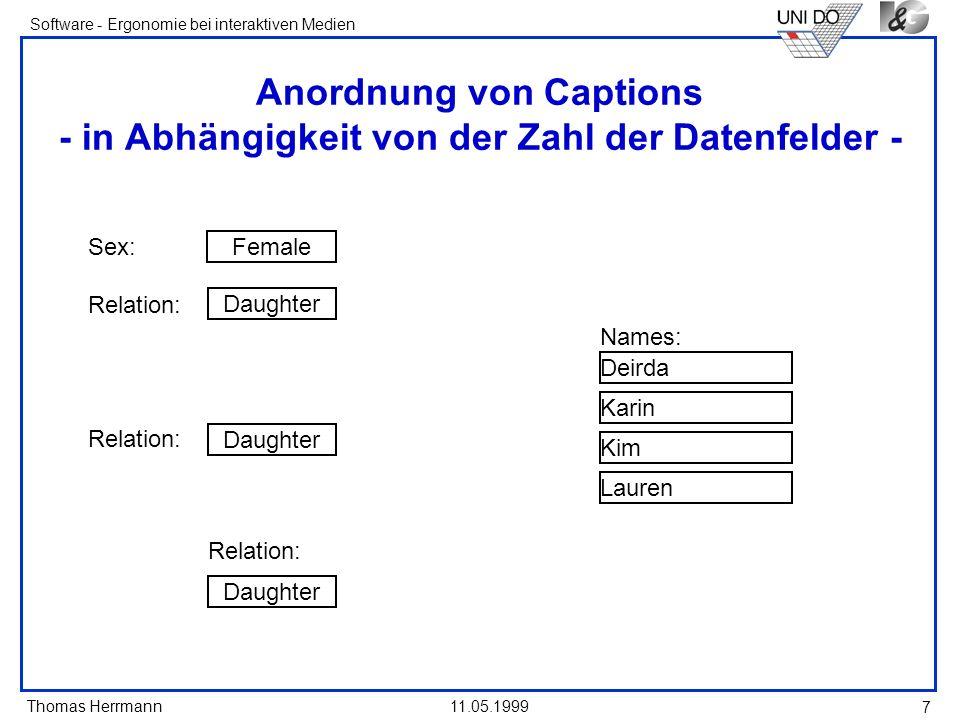 Thomas Herrmann Software - Ergonomie bei interaktiven Medien 11.05.1999 7 Anordnung von Captions - in Abhängigkeit von der Zahl der Datenfelder - Sex: