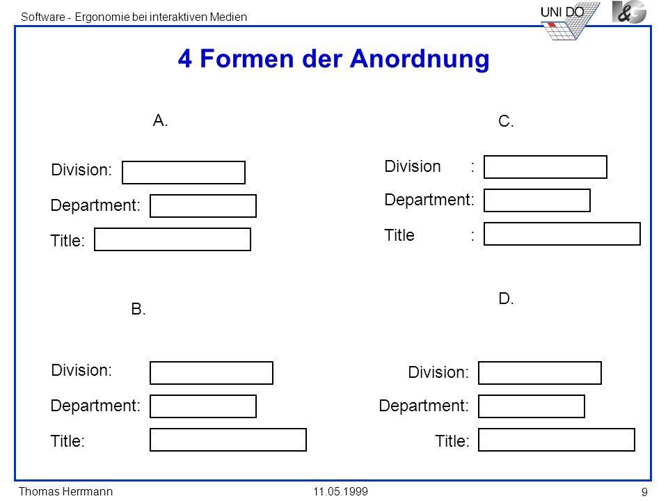 Thomas Herrmann Software - Ergonomie bei interaktiven Medien 11.05.1999 9 4 Formen der Anordnung A. Division: Department: Title: B. Division: Departme
