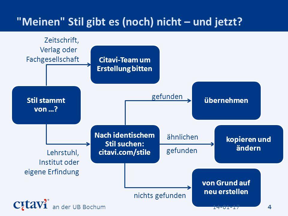 Und so geht es weiter 25 Definieren Sie für alle von Ihnen verwendeten Dokumententypen die Darstellung im Literaturverzeichnis und die Nachweise im Text (oder in der Fußnote): 14-01-17an der UB Bochum