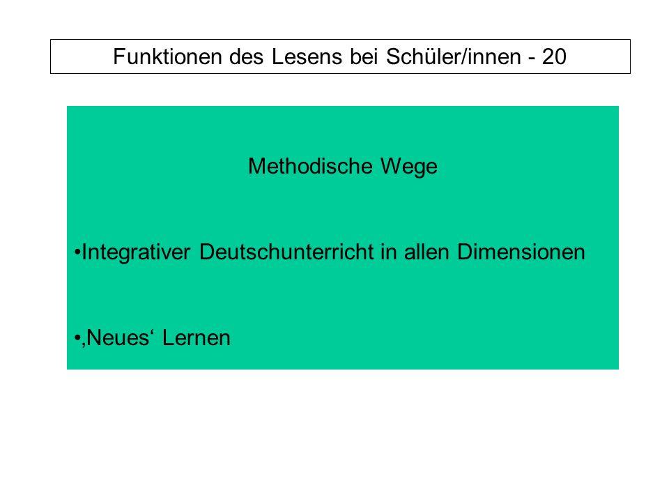 Funktionen des Lesens bei Schüler/innen - 20 Methodische Wege Integrativer Deutschunterricht in allen Dimensionen Neues Lernen
