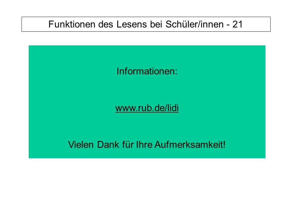 Funktionen des Lesens bei Schüler/innen - 21 Informationen: www.rub.de/lidi Vielen Dank für Ihre Aufmerksamkeit!