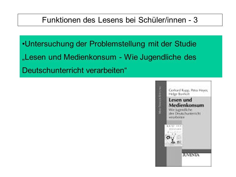 Untersuchung der Problemstellung mit der Studie Lesen und Medienkonsum - Wie Jugendliche des Deutschunterricht verarbeiten Funktionen des Lesens bei Schüler/innen - 3