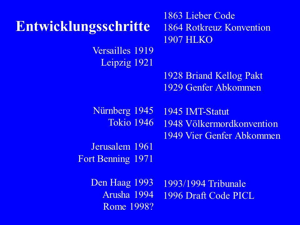 Versailles 1919 Leipzig 1921 Nürnberg 1945 Tokio 1946 Jerusalem 1961 Fort Benning 1971 Den Haag 1993 Arusha 1994 Rome 1998.