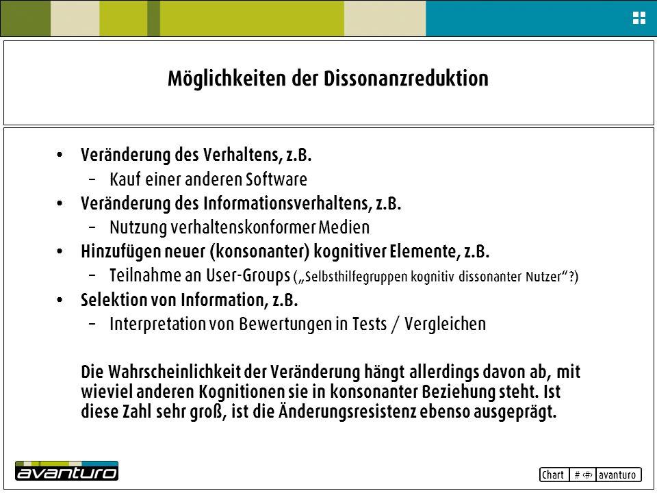 Chart # 7 avanturo Möglichkeiten der Dissonanzreduktion Veränderung des Verhaltens, z.B. – Kauf einer anderen Software Veränderung des Informationsver
