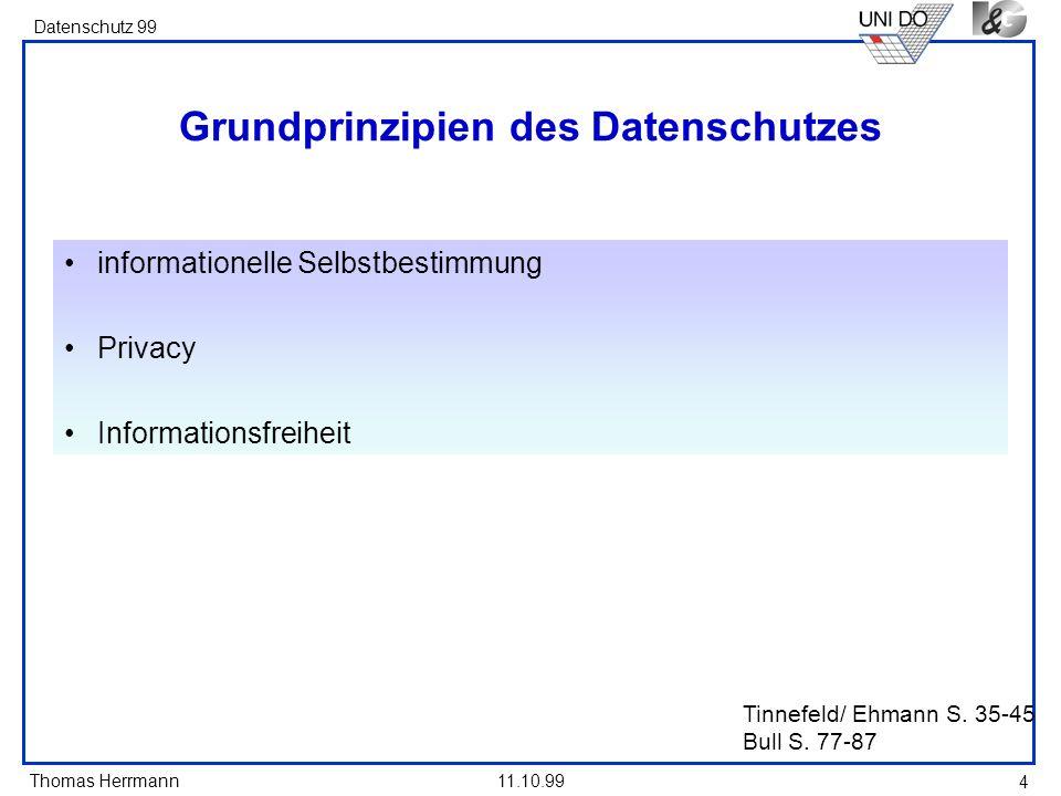 Thomas Herrmann Datenschutz 99 11.10.99 4 Tinnefeld/ Ehmann S. 35-45 Bull S. 77-87 Grundprinzipien des Datenschutzes informationelle Selbstbestimmung
