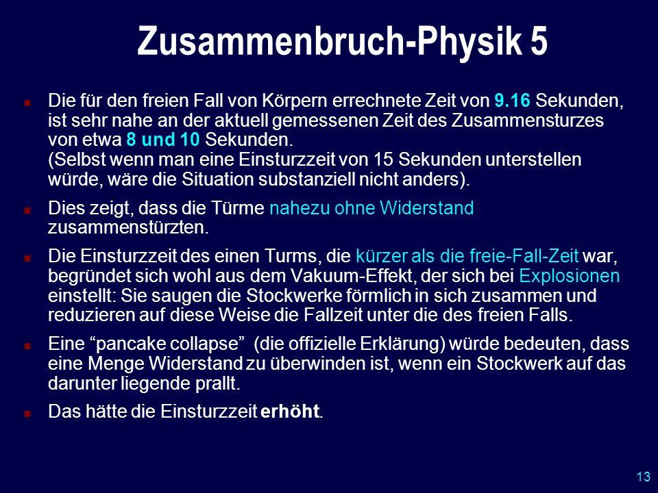 13 Zusammenbruch-Physik 5 Die für den freien Fall von Körpern errechnete Zeit von 9.16 Sekunden, ist sehr nahe an der aktuell gemessenen Zeit des Zusa