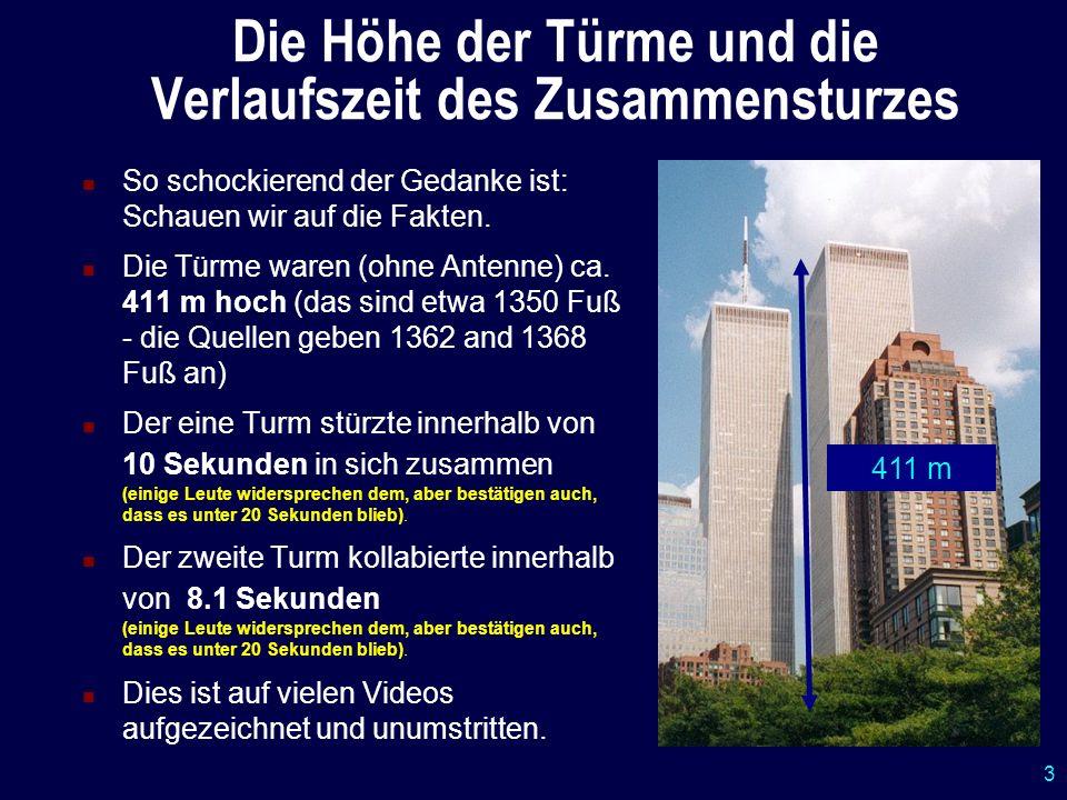 14 Zusammenfassung der Feststellungen (Beweis) Die Türme wurden durch Exposionen zerstört (nach dem Einschlag der Flugzeuge).