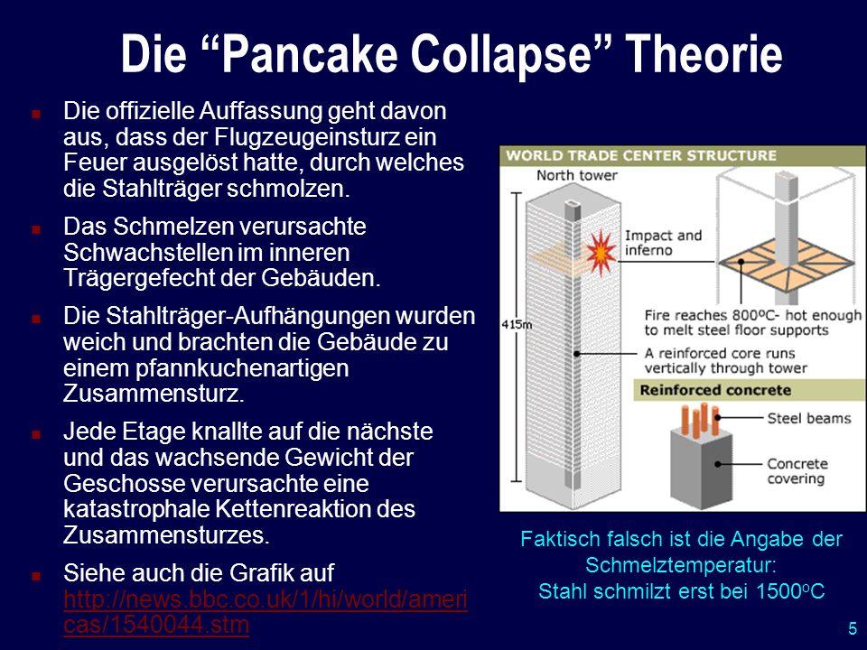 5 Die Pancake Collapse Theorie Die offizielle Auffassung geht davon aus, dass der Flugzeugeinsturz ein Feuer ausgelöst hatte, durch welches die Stahlt
