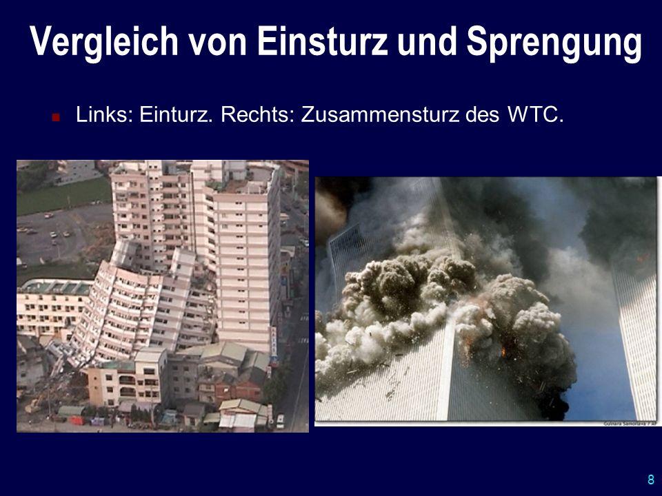8 Vergleich von Einsturz und Sprengung Links: Einturz. Rechts: Zusammensturz des WTC.