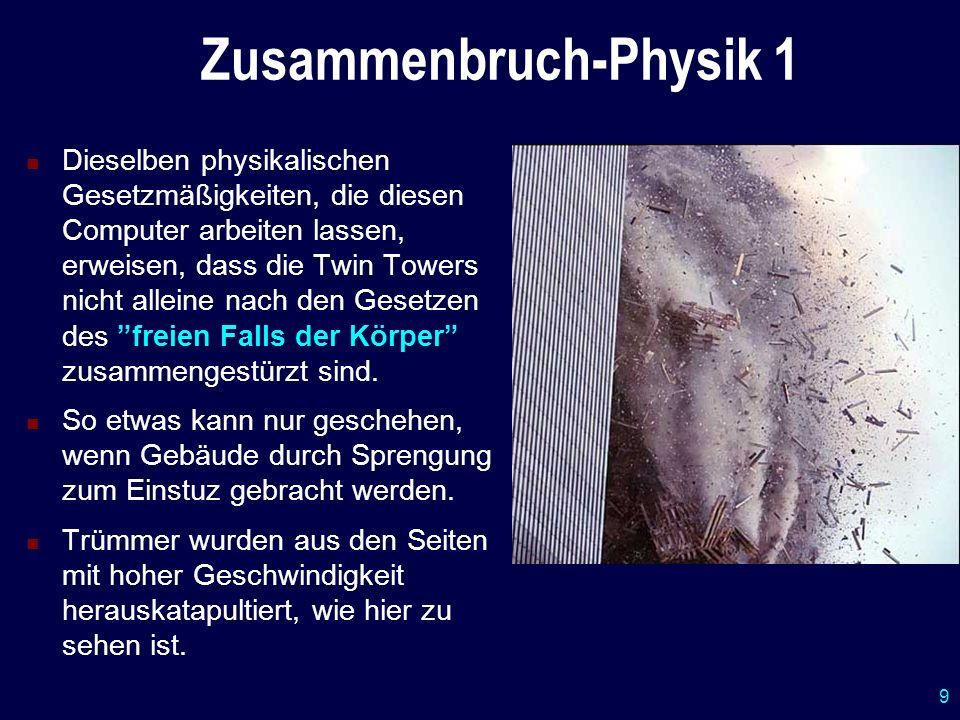 9 Zusammenbruch-Physik 1 Dieselben physikalischen Gesetzmäßigkeiten, die diesen Computer arbeiten lassen, erweisen, dass die Twin Towers nicht alleine