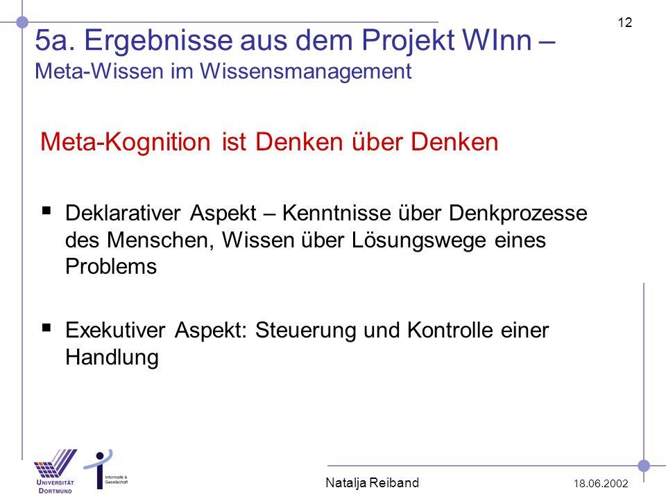 12 18.06.2002 Natalja Reiband 5a. Ergebnisse aus dem Projekt WInn – Meta-Wissen im Wissensmanagement Meta-Kognition ist Denken über Denken Deklarative