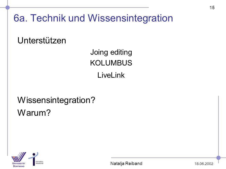 15 18.06.2002 Natalja Reiband 6a. Technik und Wissensintegration Unterstützen Joing editing KOLUMBUS LiveLink Wissensintegration? Warum?