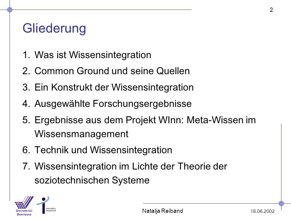 2 18.06.2002 Natalja Reiband Gliederung 1.Was ist Wissensintegration 2.Common Ground und seine Quellen 3.Ein Konstrukt der Wissensintegration 4.Ausgew