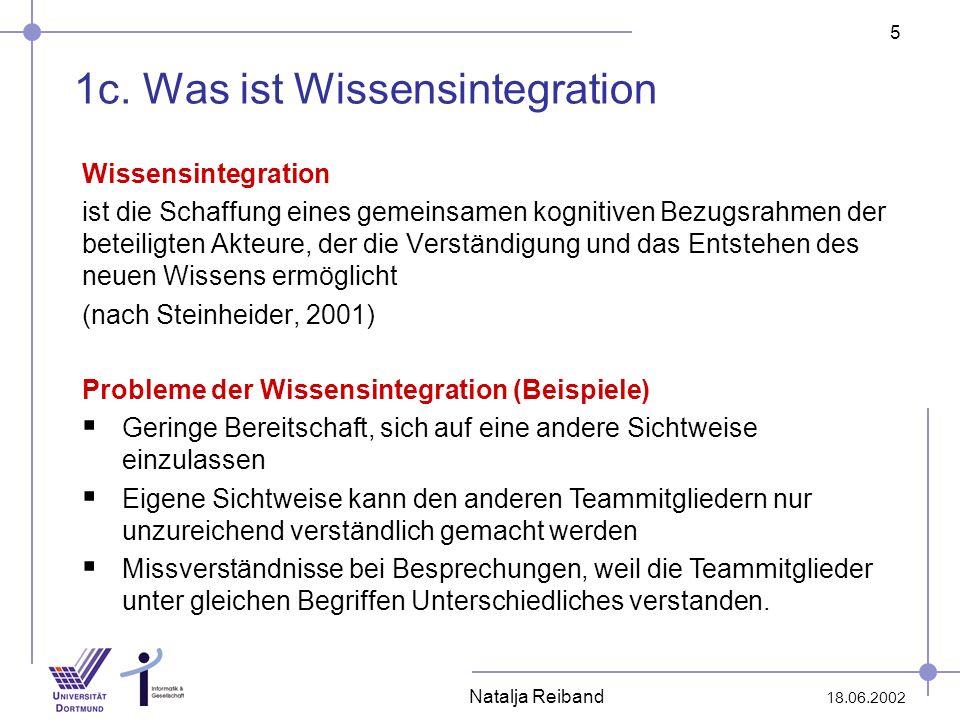 5 18.06.2002 Natalja Reiband 1c. Was ist Wissensintegration Wissensintegration ist die Schaffung eines gemeinsamen kognitiven Bezugsrahmen der beteili