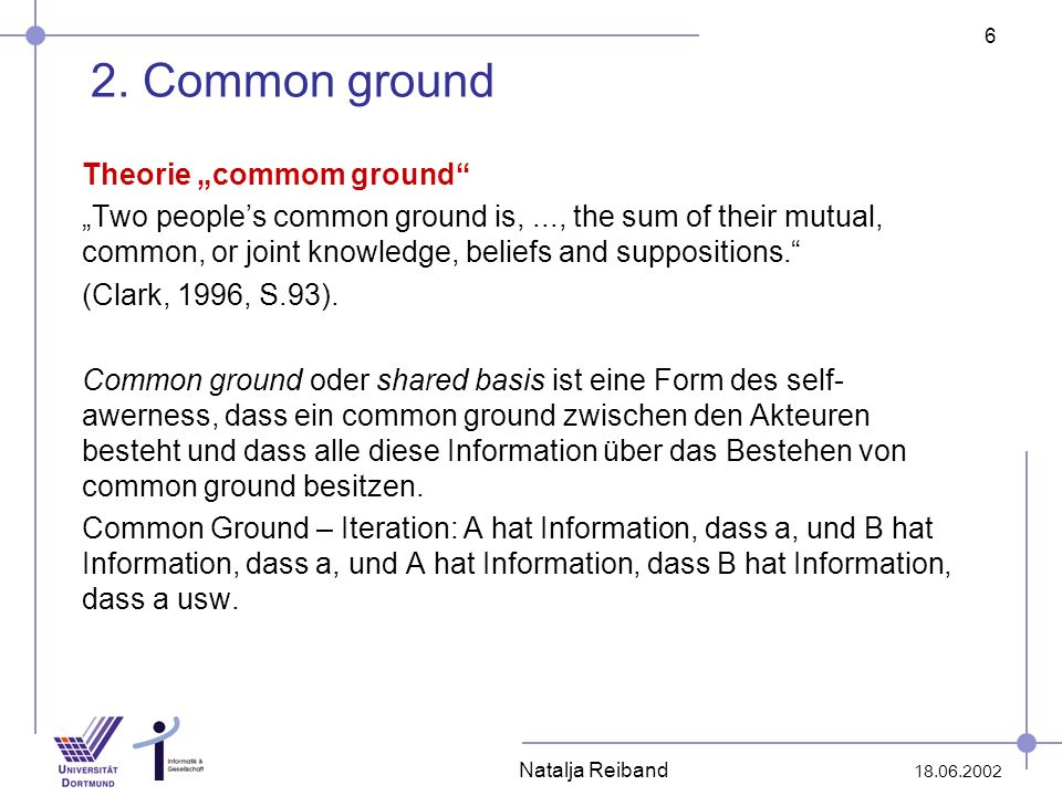 6 18.06.2002 Natalja Reiband 2. Common ground Theorie commom ground Two peoples common ground is,..., the sum of their mutual, common, or joint knowle