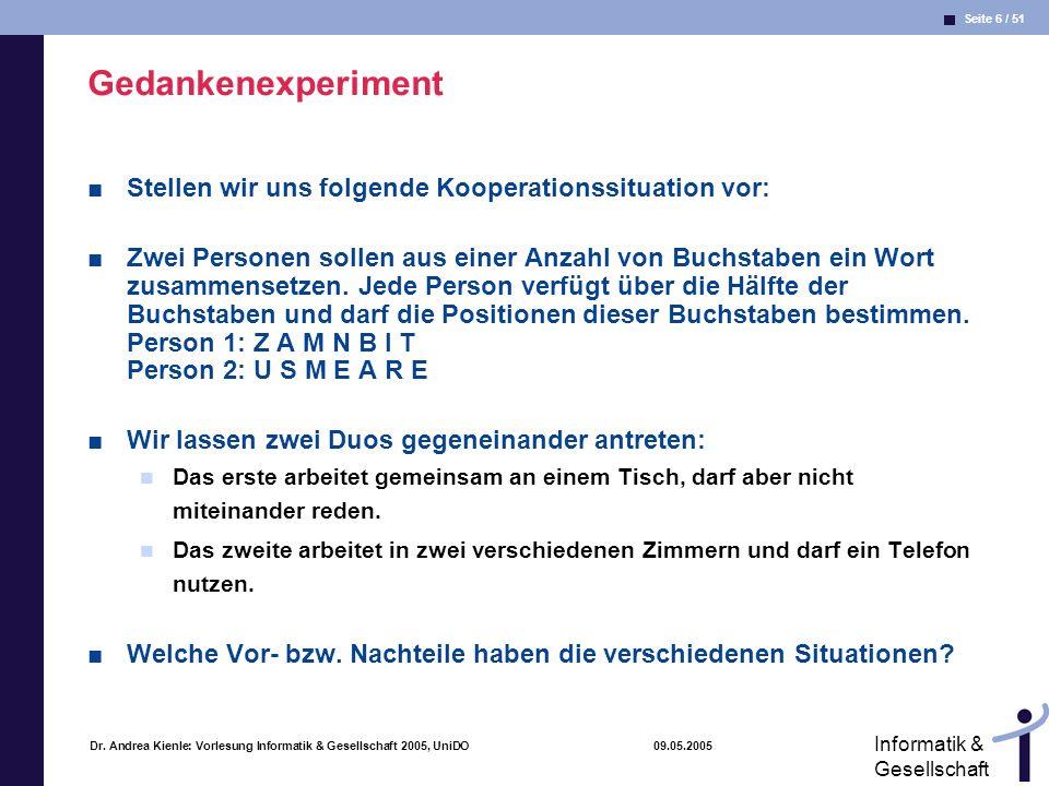 Seite 27 / 51 Informatik & Gesellschaft Dr.