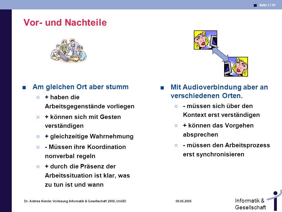 Seite 8 / 51 Informatik & Gesellschaft Dr.