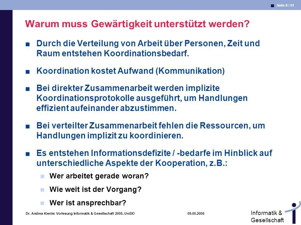 Seite 9 / 51 Informatik & Gesellschaft Dr.