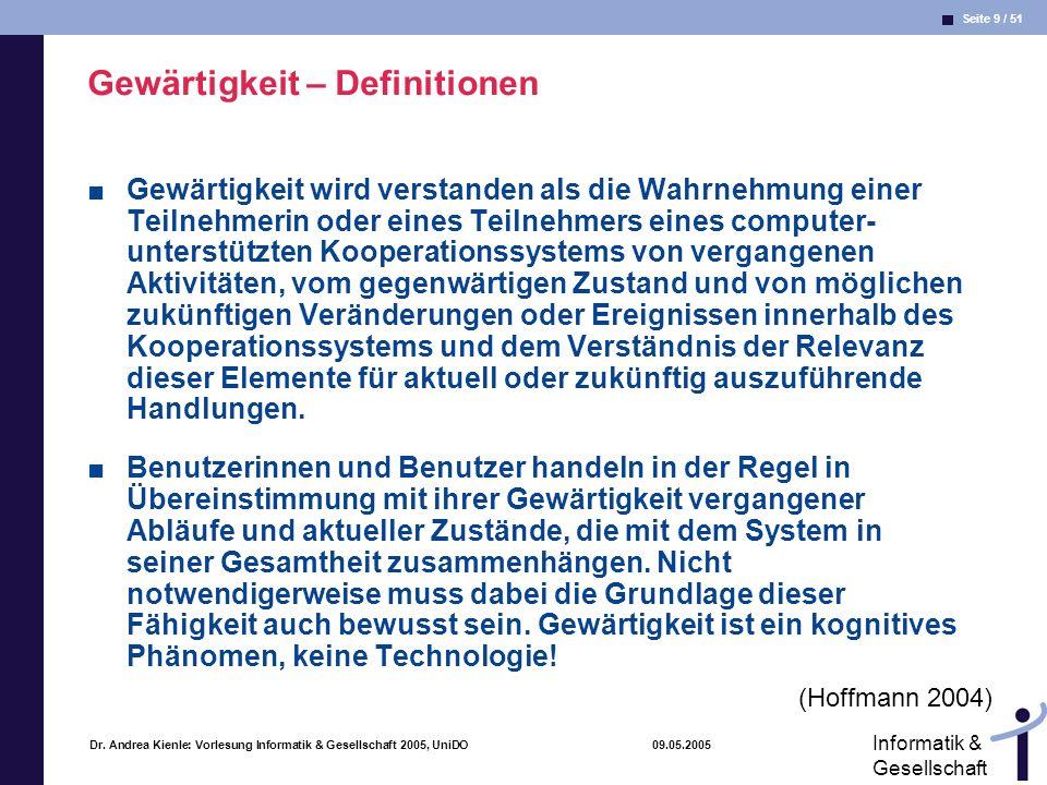 Seite 40 / 51 Informatik & Gesellschaft Dr.