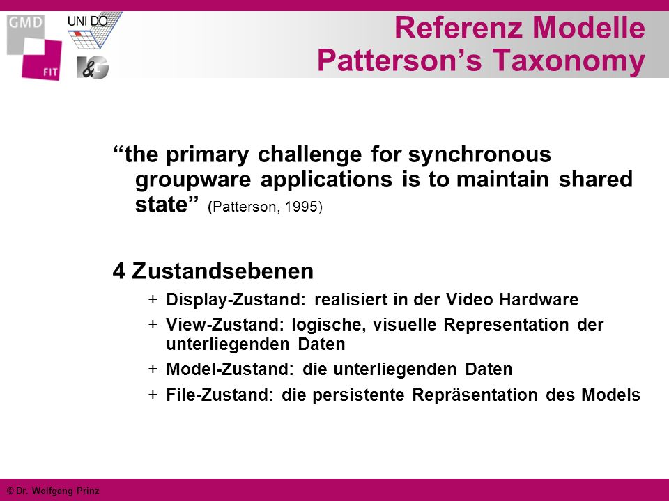 © Dr. Wolfgang Prinz Referenz Modelle Pattersons Taxonomy the primary challenge for synchronous groupware applications is to maintain shared state (Pa