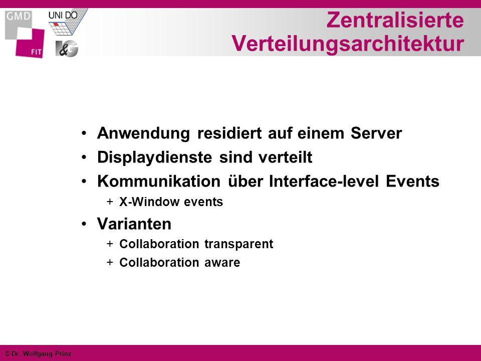 © Dr. Wolfgang Prinz Zentralisierte Verteilungsarchitektur Anwendung residiert auf einem Server Displaydienste sind verteilt Kommunikation über Interf