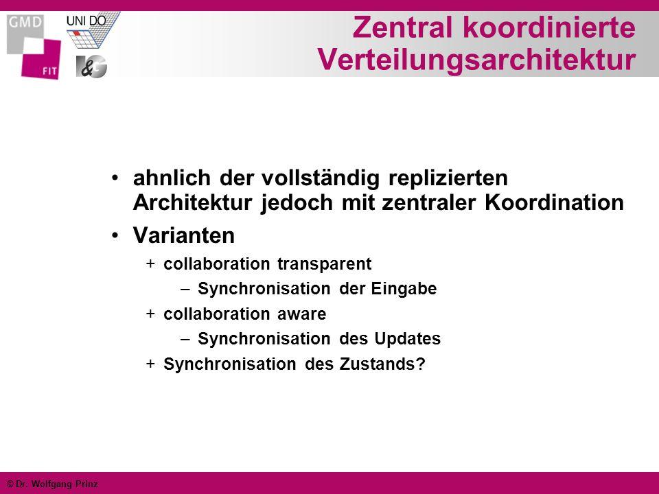 © Dr. Wolfgang Prinz Zentral koordinierte Verteilungsarchitektur ahnlich der vollständig replizierten Architektur jedoch mit zentraler Koordination Va