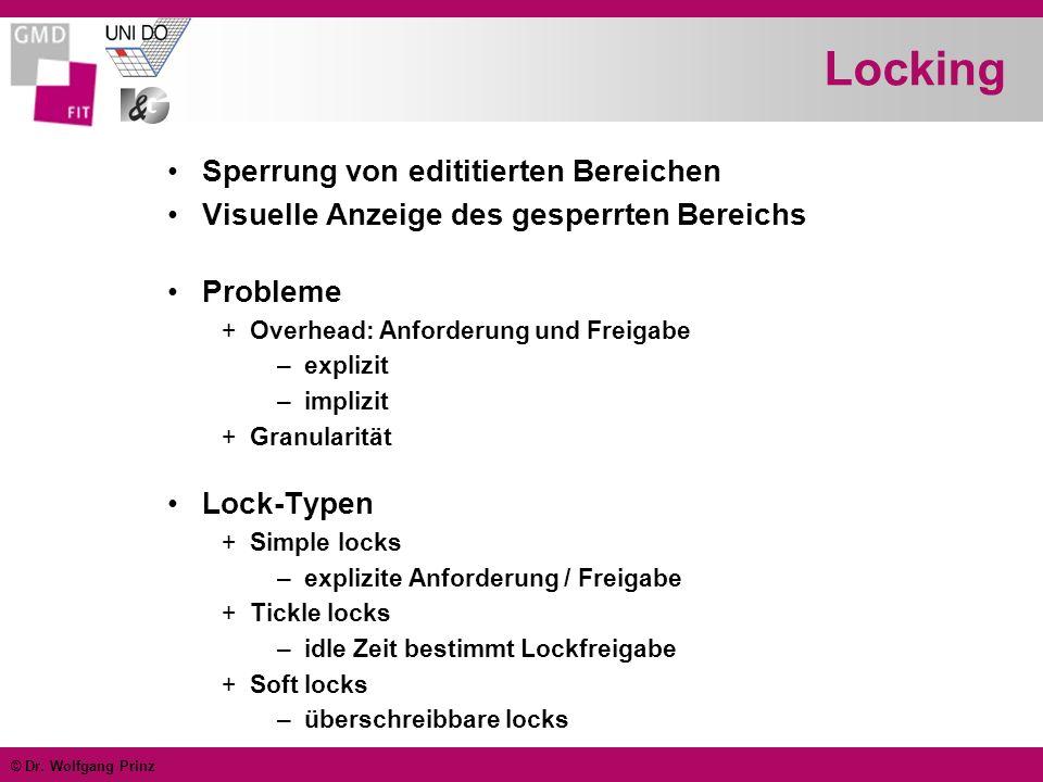 © Dr. Wolfgang Prinz Locking Sperrung von edititierten Bereichen Visuelle Anzeige des gesperrten Bereichs Probleme +Overhead: Anforderung und Freigabe