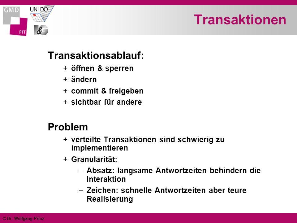 © Dr. Wolfgang Prinz Transaktionen Transaktionsablauf: +öffnen & sperren +ändern +commit & freigeben +sichtbar für andere Problem +verteilte Transakti