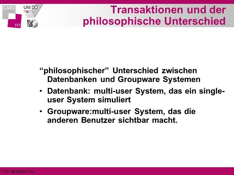 © Dr. Wolfgang Prinz Transaktionen und der philosophische Unterschied philosophischer Unterschied zwischen Datenbanken und Groupware Systemen Datenban