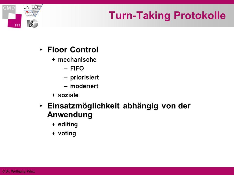 © Dr. Wolfgang Prinz Turn-Taking Protokolle Floor Control +mechanische –FIFO –priorisiert –moderiert +soziale Einsatzmöglichkeit abhängig von der Anwe