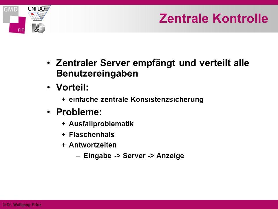 © Dr. Wolfgang Prinz Zentrale Kontrolle Zentraler Server empfängt und verteilt alle Benutzereingaben Vorteil: +einfache zentrale Konsistenzsicherung P
