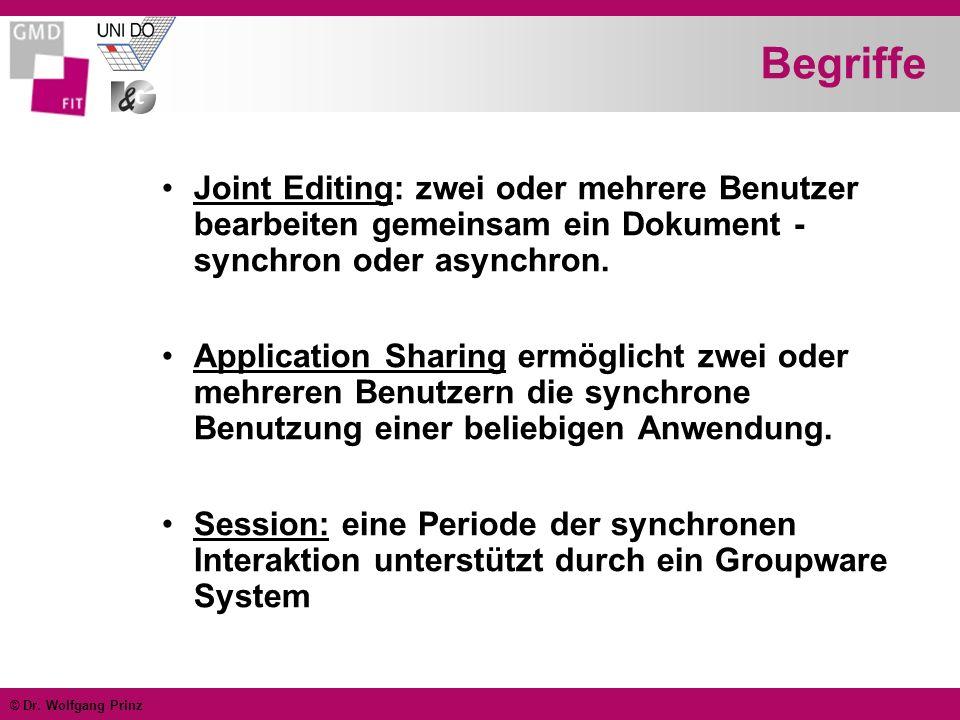 © Dr. Wolfgang Prinz Begriffe Joint Editing: zwei oder mehrere Benutzer bearbeiten gemeinsam ein Dokument - synchron oder asynchron. Application Shari