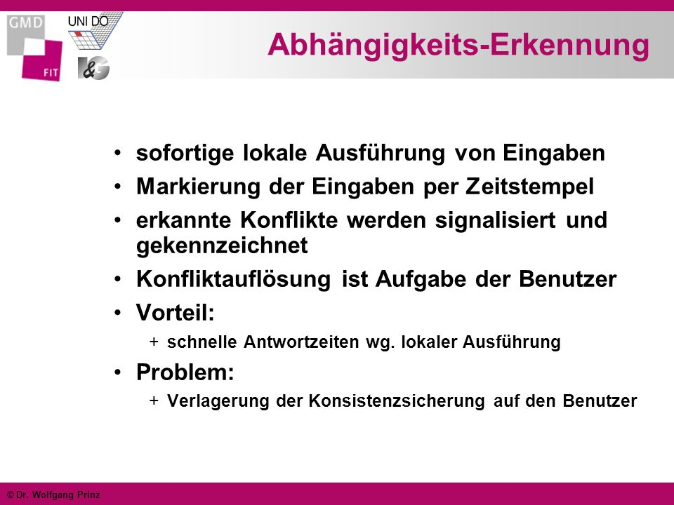 © Dr. Wolfgang Prinz Abhängigkeits-Erkennung sofortige lokale Ausführung von Eingaben Markierung der Eingaben per Zeitstempel erkannte Konflikte werde