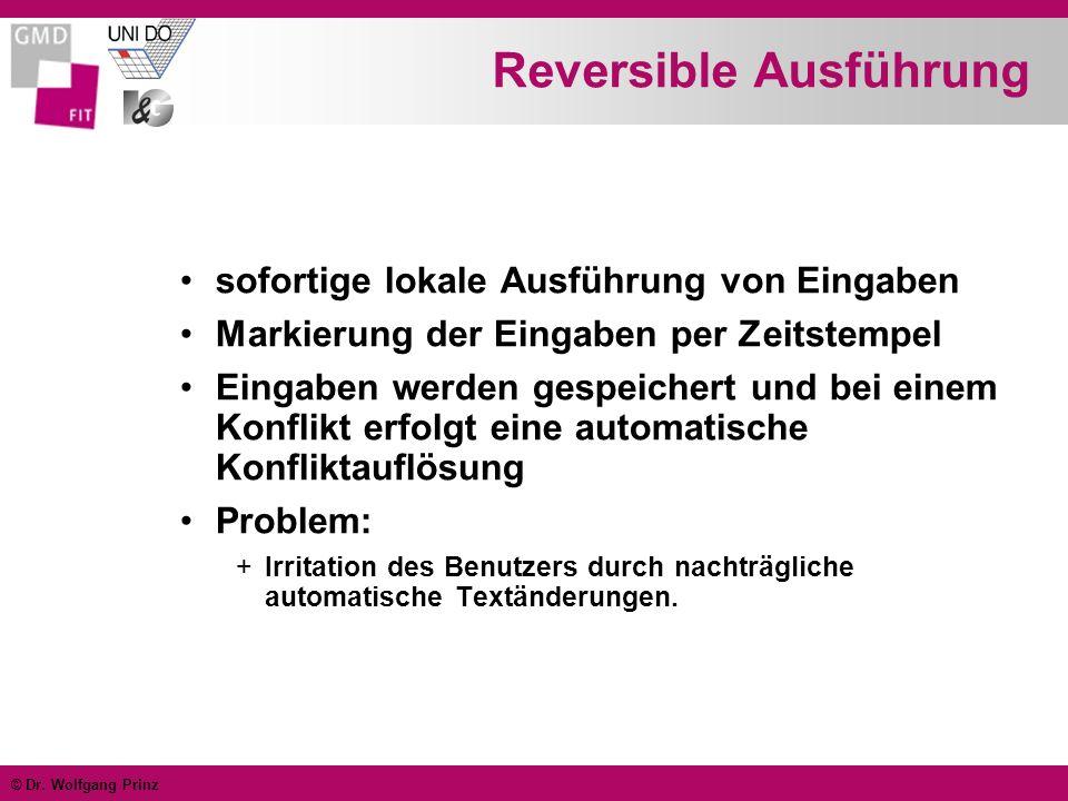 © Dr. Wolfgang Prinz Reversible Ausführung sofortige lokale Ausführung von Eingaben Markierung der Eingaben per Zeitstempel Eingaben werden gespeicher