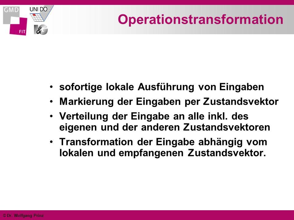 © Dr. Wolfgang Prinz Operationstransformation sofortige lokale Ausführung von Eingaben Markierung der Eingaben per Zustandsvektor Verteilung der Einga