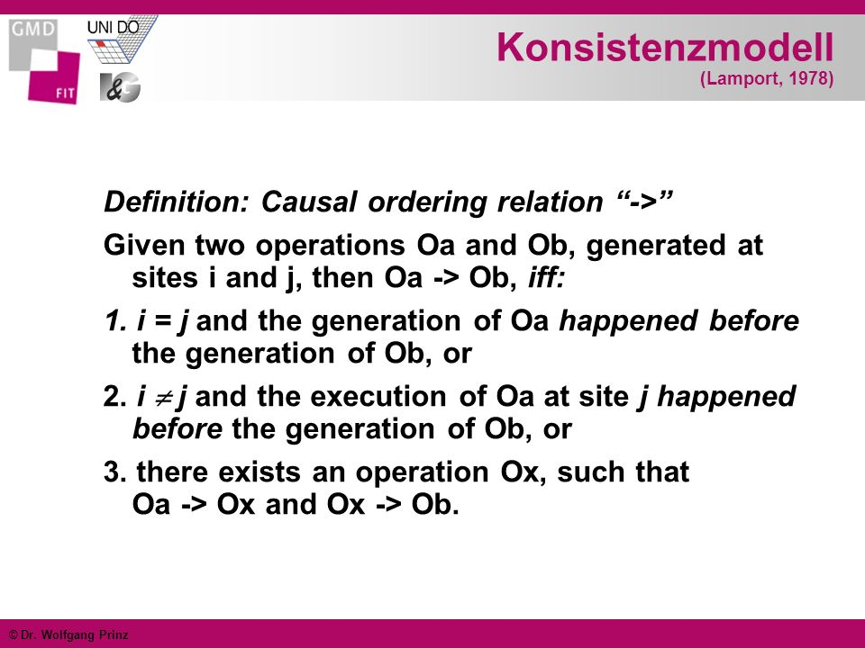 © Dr. Wolfgang Prinz Konsistenzmodell (Lamport, 1978) Definition: Causal ordering relation -> Given two operations Oa and Ob, generated at sites i and
