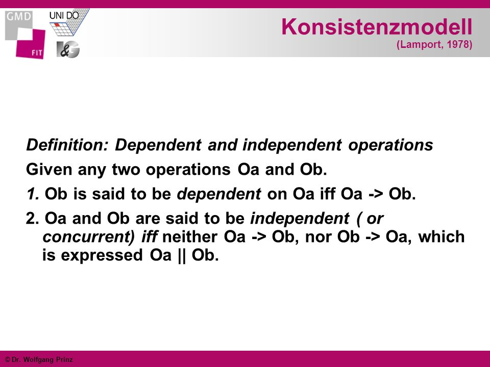 © Dr. Wolfgang Prinz Konsistenzmodell (Lamport, 1978) Definition: Dependent and independent operations Given any two operations Oa and Ob. 1. Ob is sa