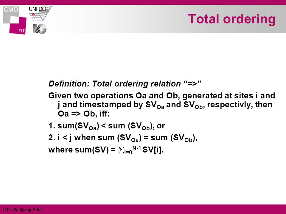 © Dr. Wolfgang Prinz Total ordering Definition: Total ordering relation => Given two operations Oa and Ob, generated at sites i and j and timestamped