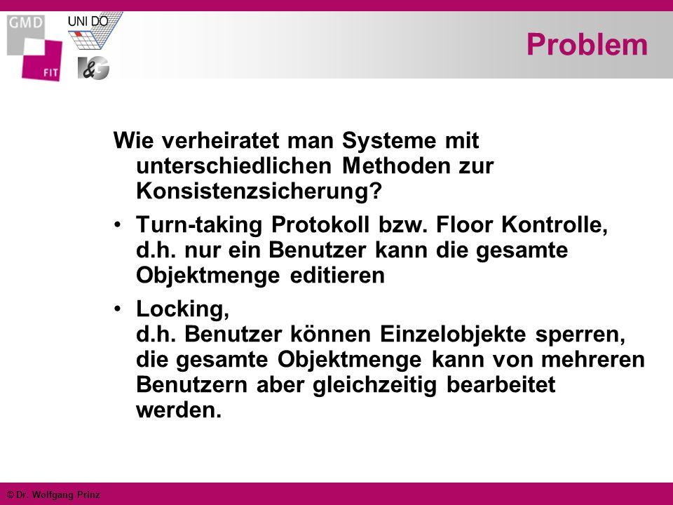 © Dr. Wolfgang Prinz Problem Wie verheiratet man Systeme mit unterschiedlichen Methoden zur Konsistenzsicherung? Turn-taking Protokoll bzw. Floor Kont