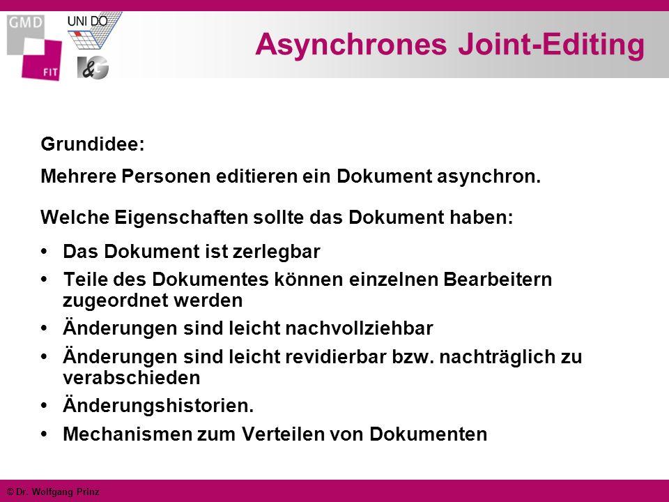 © Dr. Wolfgang Prinz Asynchrones Joint-Editing Grundidee: Mehrere Personen editieren ein Dokument asynchron. Welche Eigenschaften sollte das Dokument