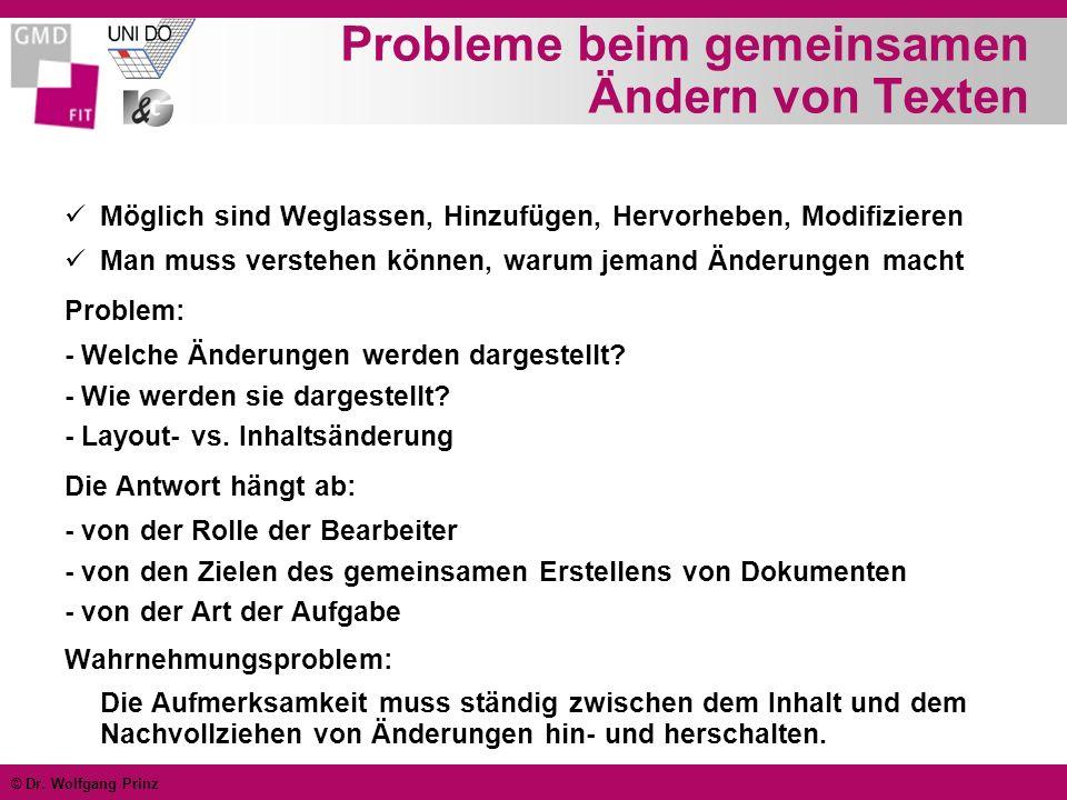 © Dr. Wolfgang Prinz Probleme beim gemeinsamen Ändern von Texten Möglich sind Weglassen, Hinzufügen, Hervorheben, Modifizieren Man muss verstehen könn