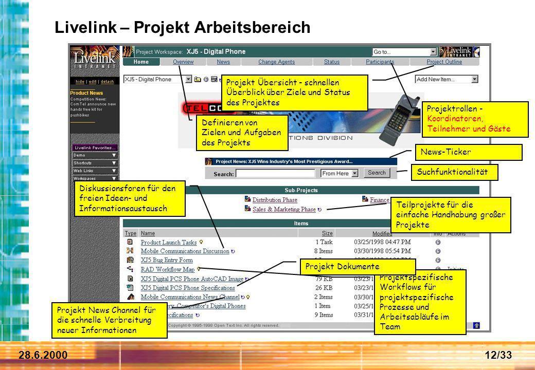28.6.200012/33 Projekt News Channel für die schnelle Verbreitung neuer Informationen Definieren von Zielen und Aufgaben des Projekts Projekt Übersicht