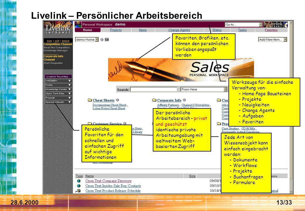 28.6.200013/33 Jede Art von Wissensobjekt kann einfach eingebracht werden: - Dokumente - Workflows - Projekte - Suchanfragen - Formulare Werkzeuge für