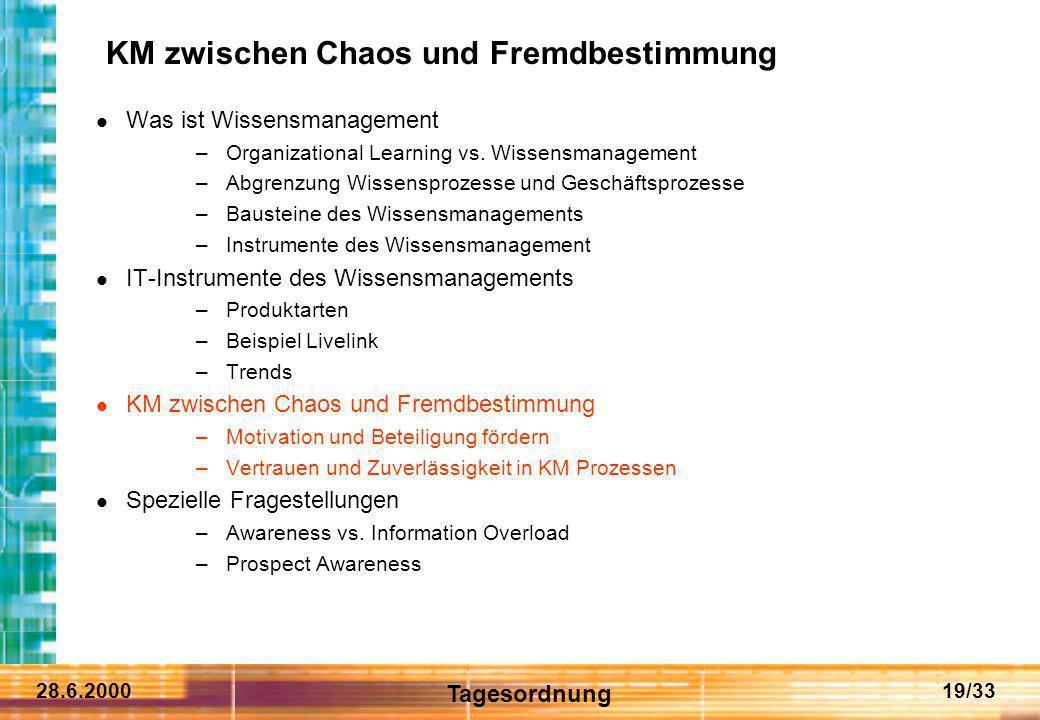 28.6.200019/33 KM zwischen Chaos und Fremdbestimmung Was ist Wissensmanagement –Organizational Learning vs. Wissensmanagement –Abgrenzung Wissensproze