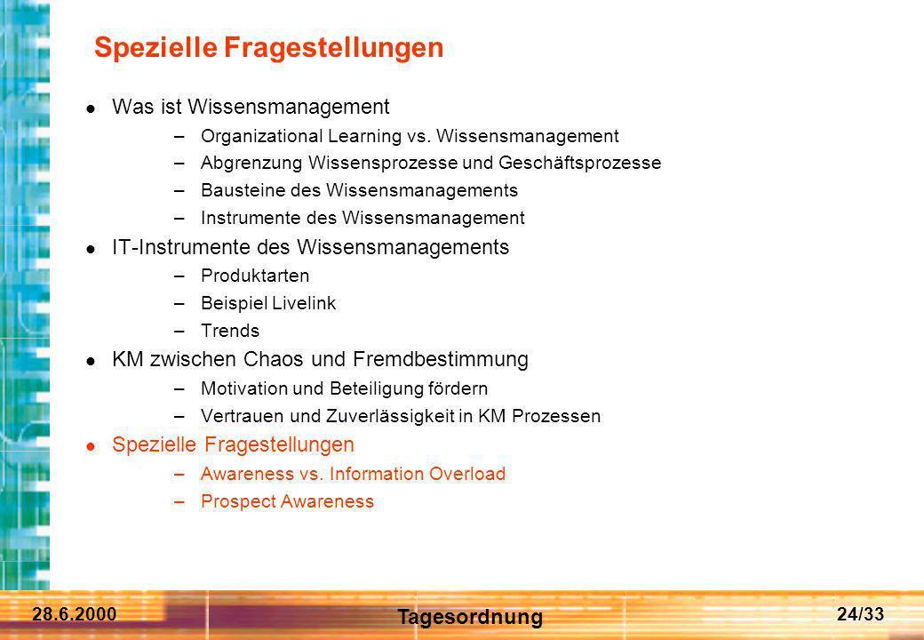 28.6.200024/33 Spezielle Fragestellungen Was ist Wissensmanagement –Organizational Learning vs. Wissensmanagement –Abgrenzung Wissensprozesse und Gesc