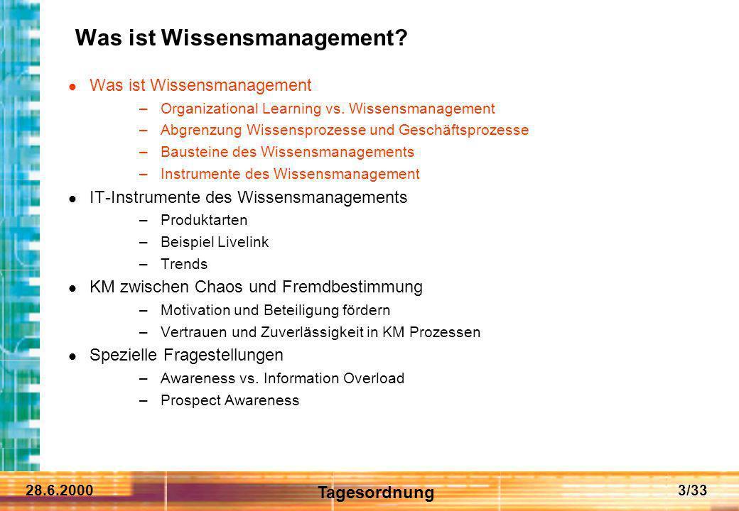 28.6.20003/33 Was ist Wissensmanagement? Was ist Wissensmanagement –Organizational Learning vs. Wissensmanagement –Abgrenzung Wissensprozesse und Gesc