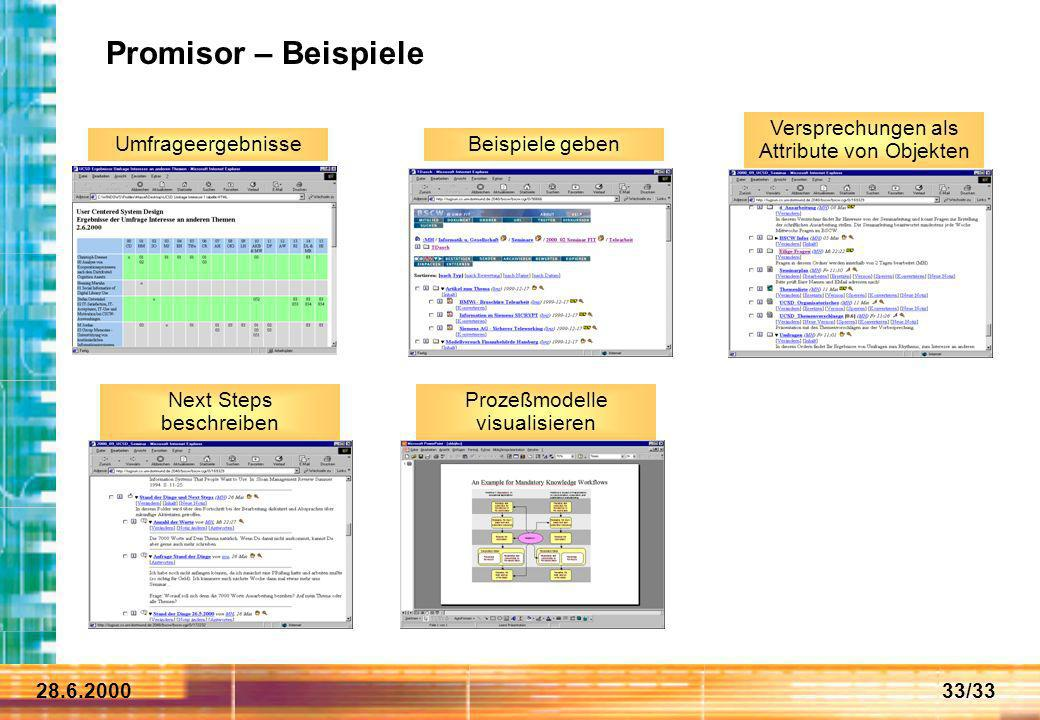 28.6.200033/33 Promisor – Beispiele Umfrageergebnisse Versprechungen als Attribute von Objekten Next Steps beschreiben Prozeßmodelle visualisieren Bei
