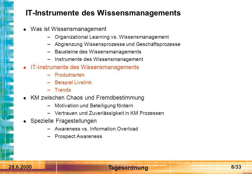 28.6.20008/33 IT-Instrumente des Wissensmanagements Was ist Wissensmanagement –Organizational Learning vs. Wissensmanagement –Abgrenzung Wissensprozes