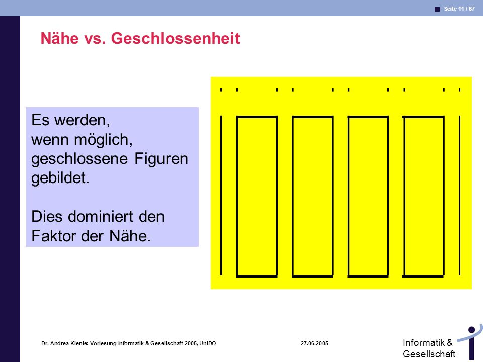 Seite 11 / 67 Informatik & Gesellschaft Dr. Andrea Kienle: Vorlesung Informatik & Gesellschaft 2005, UniDO 27.06.2005 Nähe vs. Geschlossenheit Es werd
