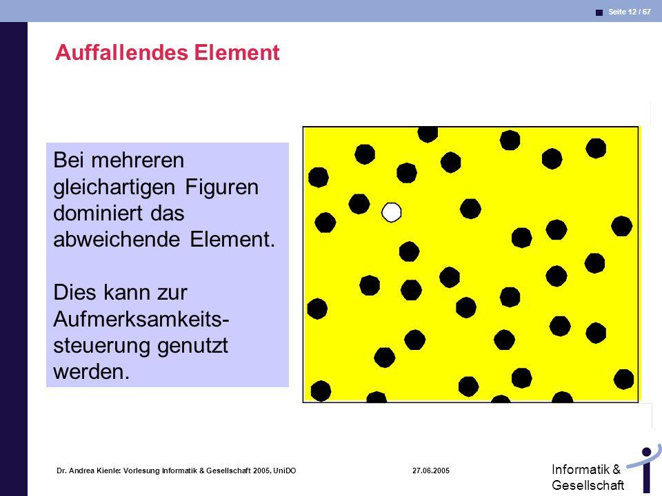 Seite 12 / 67 Informatik & Gesellschaft Dr. Andrea Kienle: Vorlesung Informatik & Gesellschaft 2005, UniDO 27.06.2005 Auffallendes Element Bei mehrere